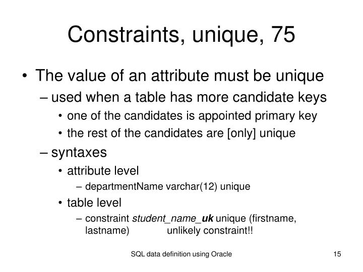 Constraints, unique, 75
