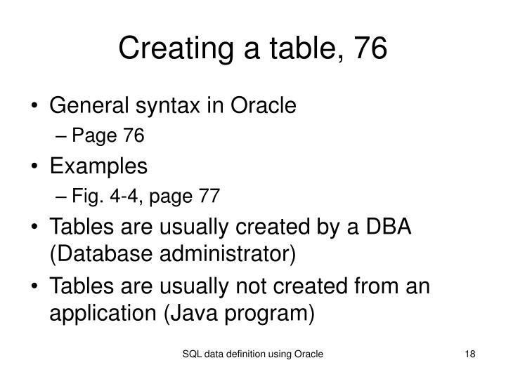 Creating a table, 76