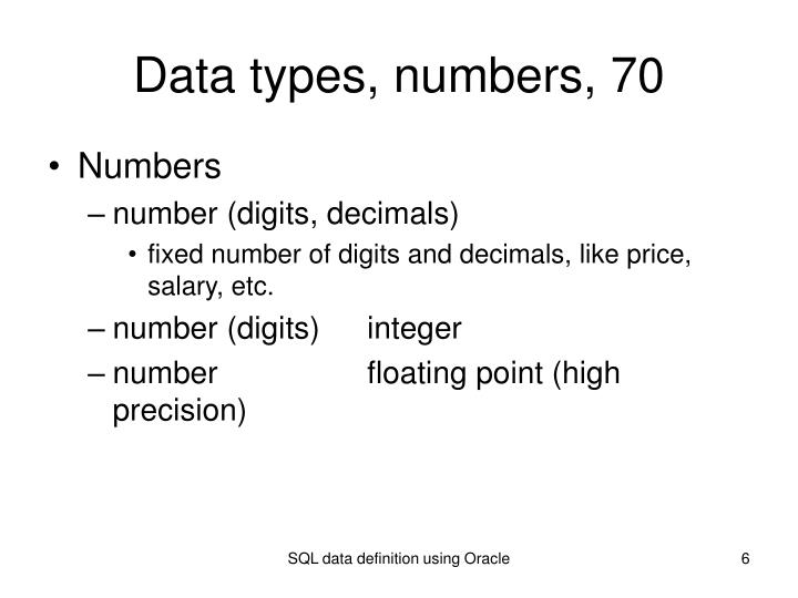 Data types, numbers, 70