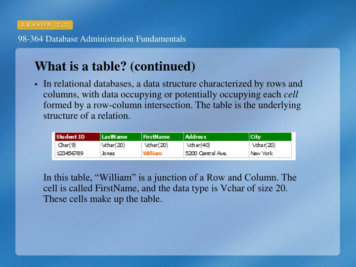 What is a table? (continued)