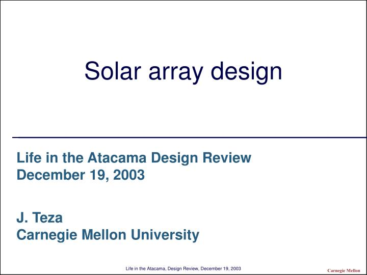 Solar array design