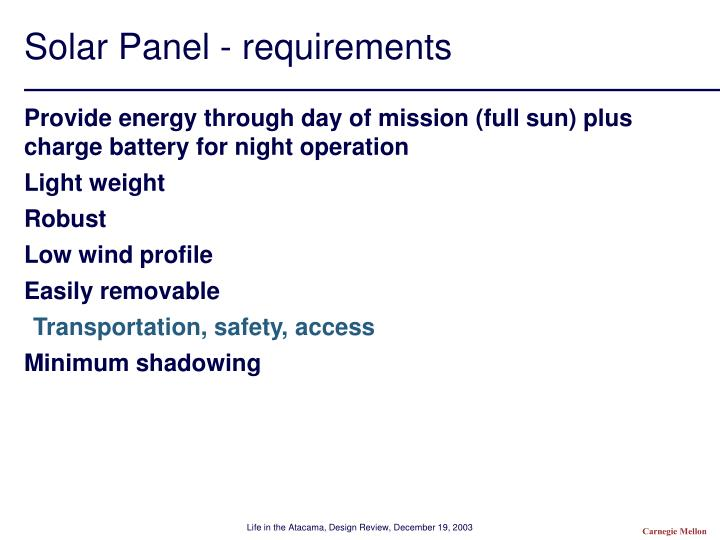 Solar Panel - requirements