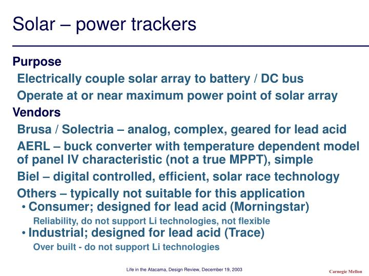 Solar – power trackers