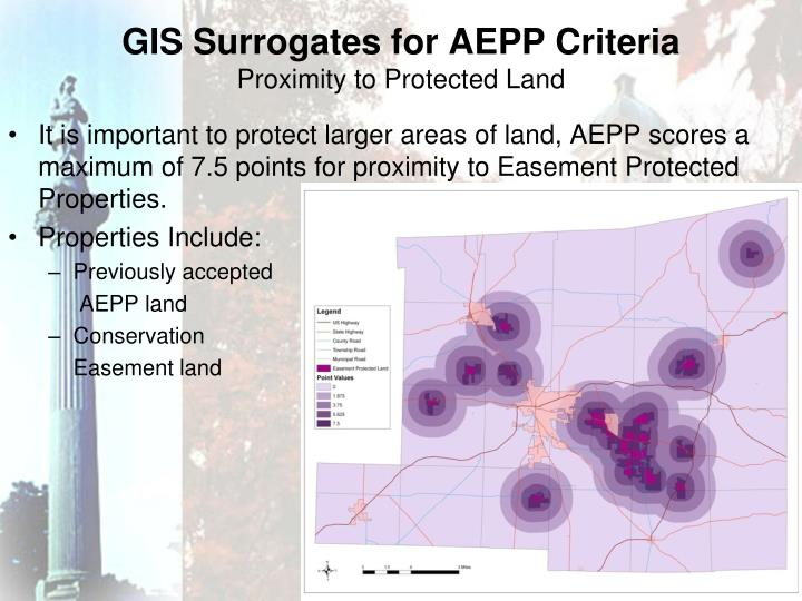 GIS Surrogates for AEPP Criteria