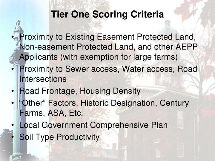 Tier One Scoring Criteria