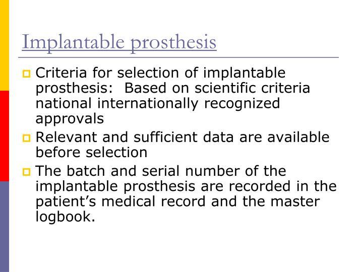 Implantable prosthesis