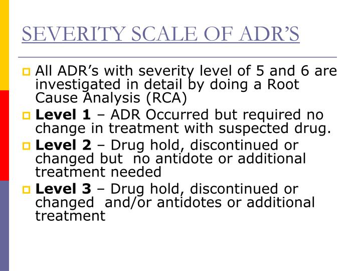 SEVERITY SCALE OF ADR'S