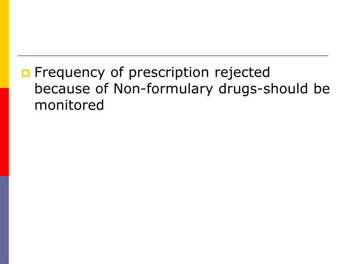 Frequency of prescription rejected because of Non-formulary drugs-should be monitored