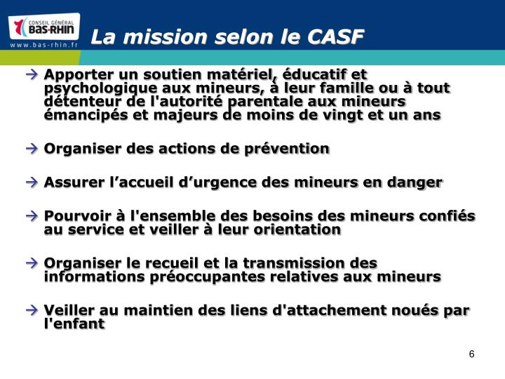 La mission selon le CASF