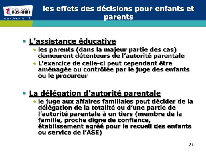 les effets des décisions pour enfants et parents
