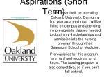 aspirations short term