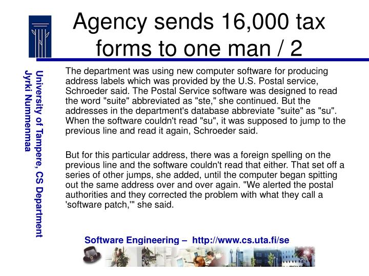 Agency sends 16,000 tax forms to one man / 2