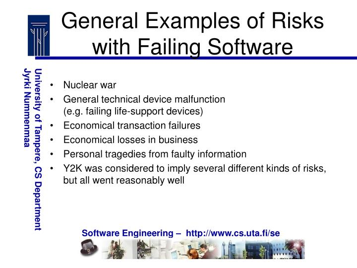 General Examples of Risks with Failing Software