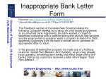 inappropriate bank letter form