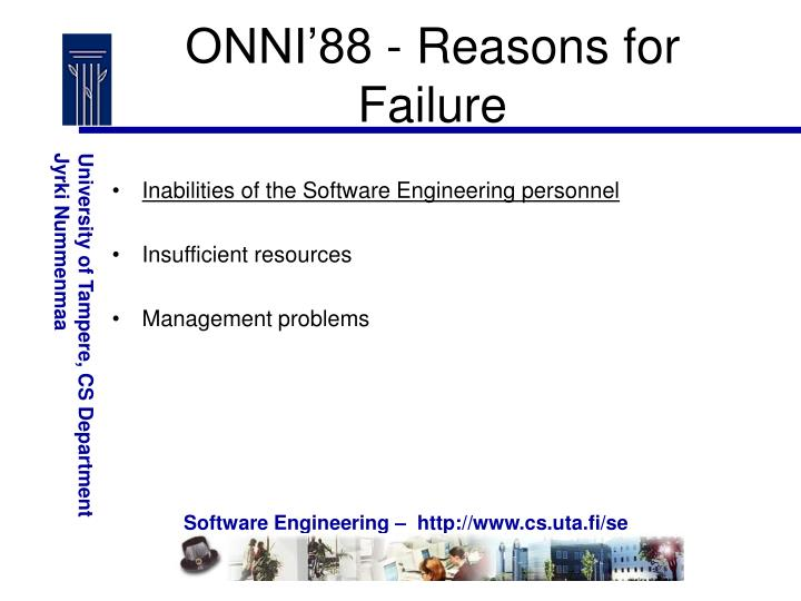 ONNI'88 - Reasons for Failure