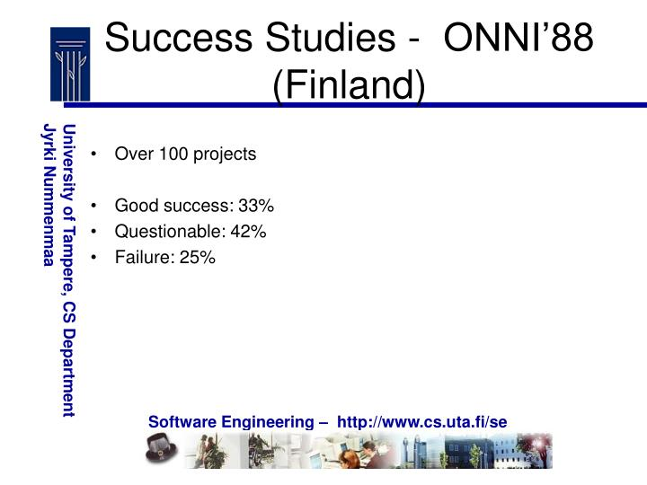 Success Studies -  ONNI'88 (Finland)