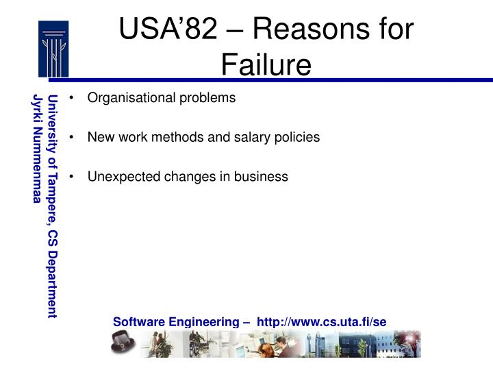 USA'82 – Reasons for Failure