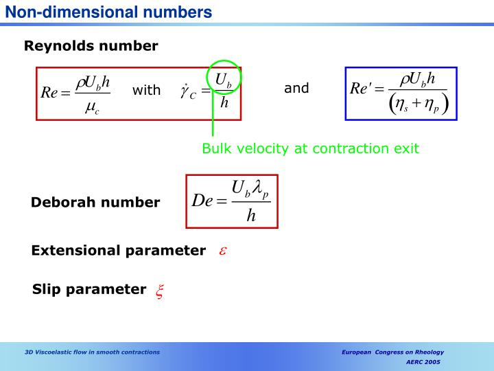 Non-dimensional numbers
