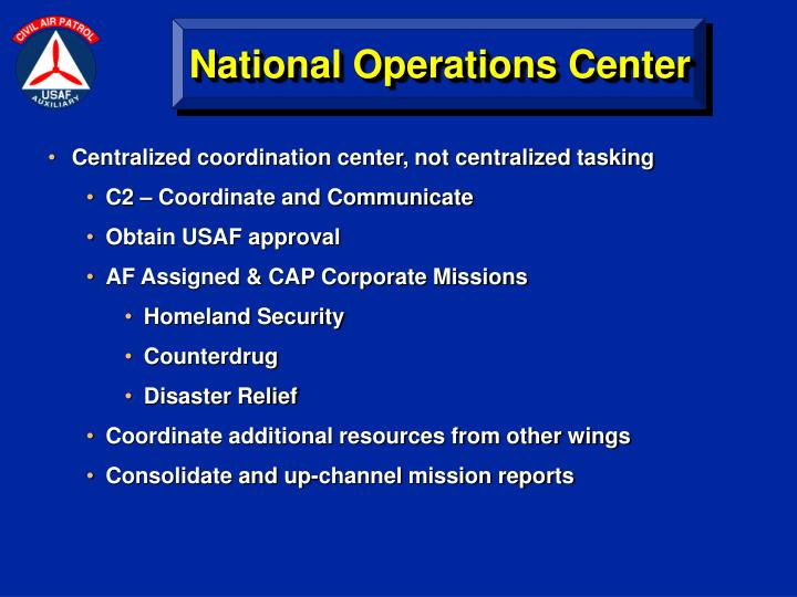 Centralized coordination center, not centralized tasking