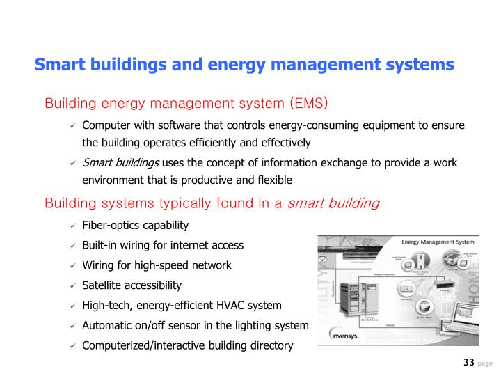 Smart buildings and energy management systems