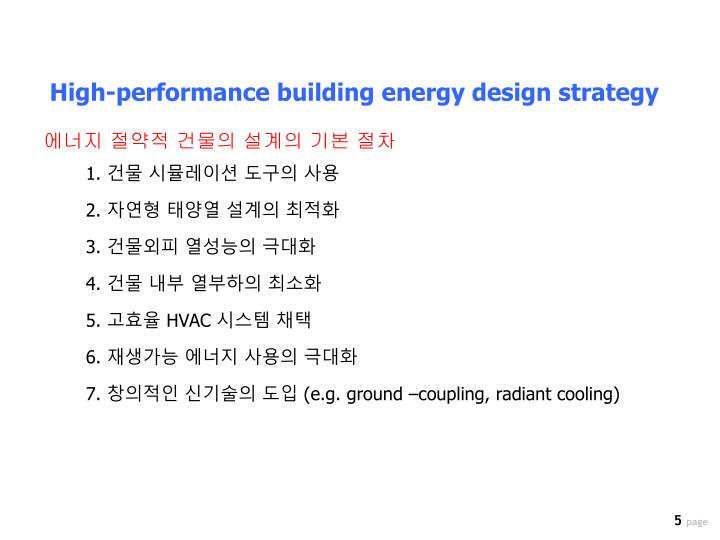 High-performance building energy design strategy