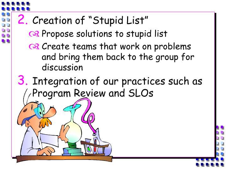 """Creation of """"Stupid List"""""""