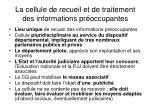 la cellule de recueil et de traitement des informations pr occupantes
