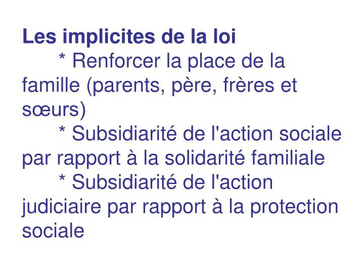 Les implicites de la loi