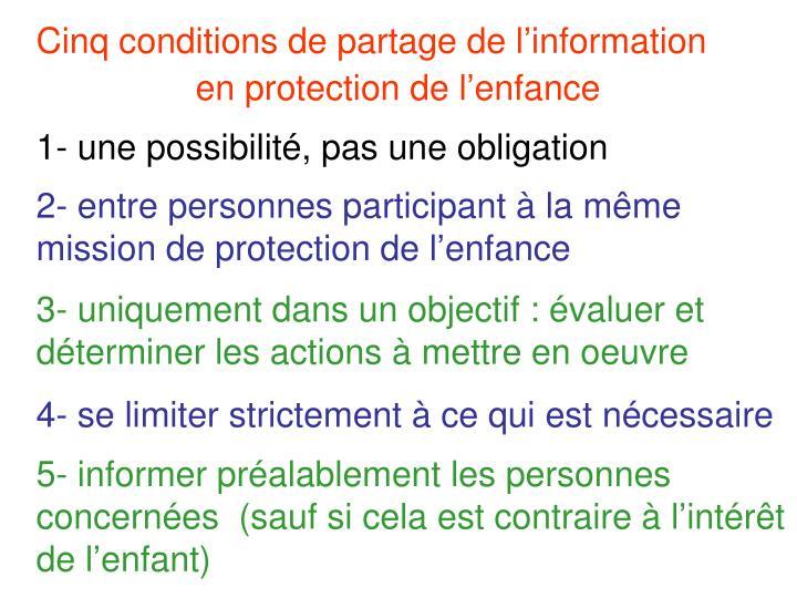 Cinq conditions de partage de linformation