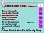 alkaline earth metals 2 valance e