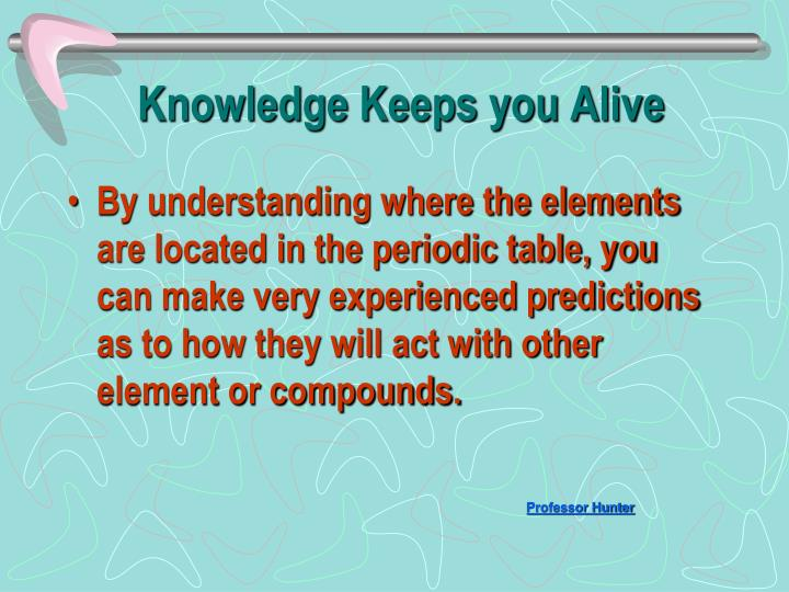 Knowledge Keeps you Alive