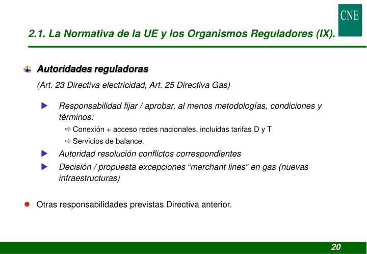 2.1. La Normativa de la UE y los Organismos Reguladores (IX).