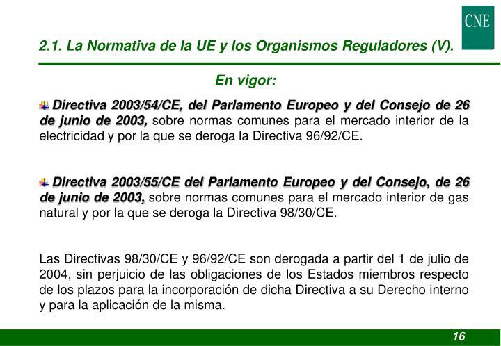 2.1. La Normativa de la UE y los Organismos Reguladores (V).