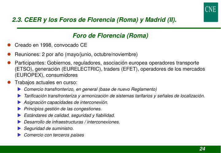 2.3. CEER y los Foros de Florencia (Roma) y Madrid (II).