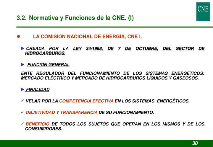 3.2. Normativa y Funciones de la CNE. (I)