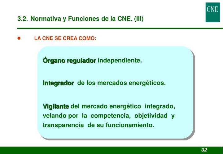 3.2. Normativa y Funciones de la CNE. (III)