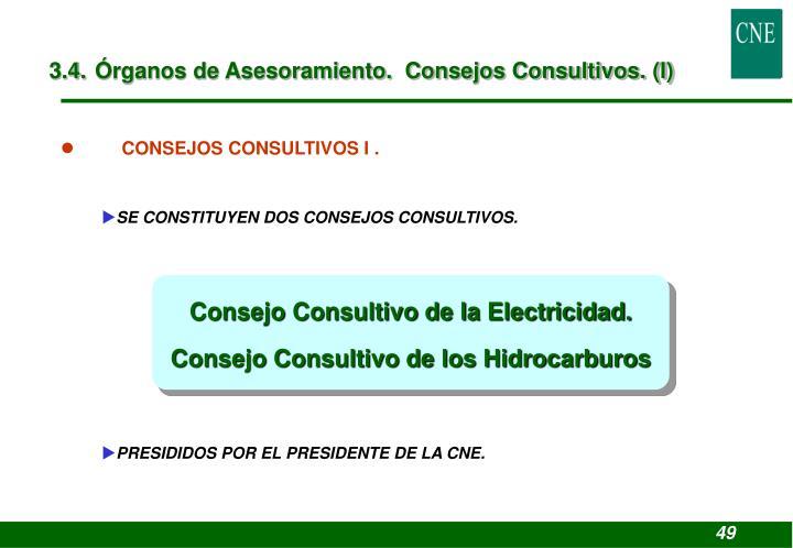 3.4. Órganos de Asesoramiento.  Consejos Consultivos. (I)