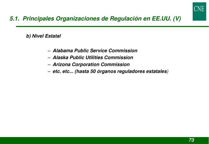 5.1.  Principales Organizaciones de Regulación en EE.UU. (V)
