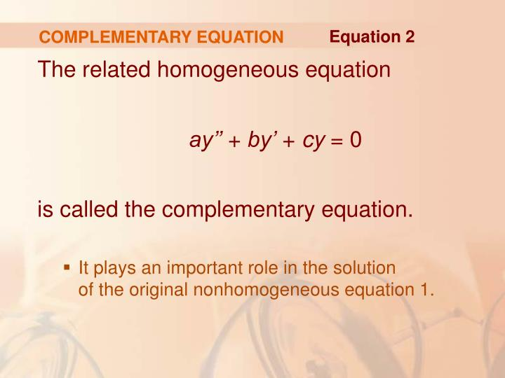 COMPLEMENTARY EQUATION