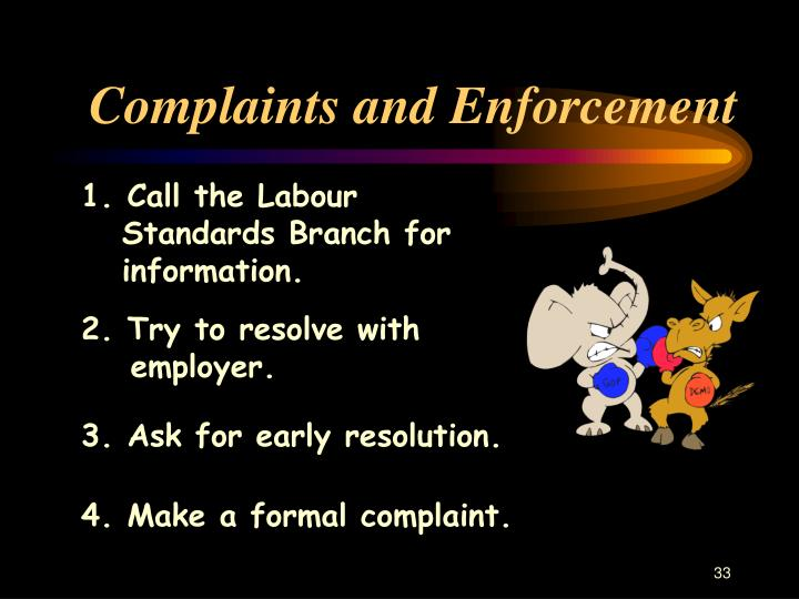 Complaints and Enforcement