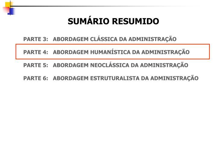 SUMÁRIO RESUMIDO