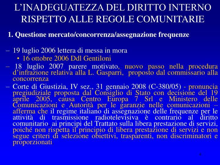 L'INADEGUATEZZA DEL DIRITTO INTERNO RISPETTO ALLE REGOLE COMUNITARIE