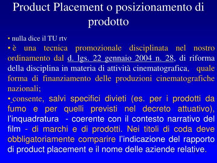 Product Placement o posizionamento di prodotto