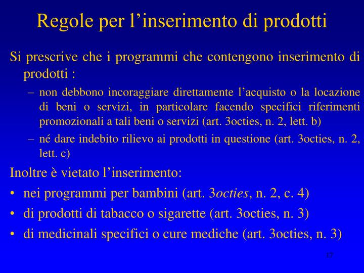 Regole per l'inserimento di prodotti