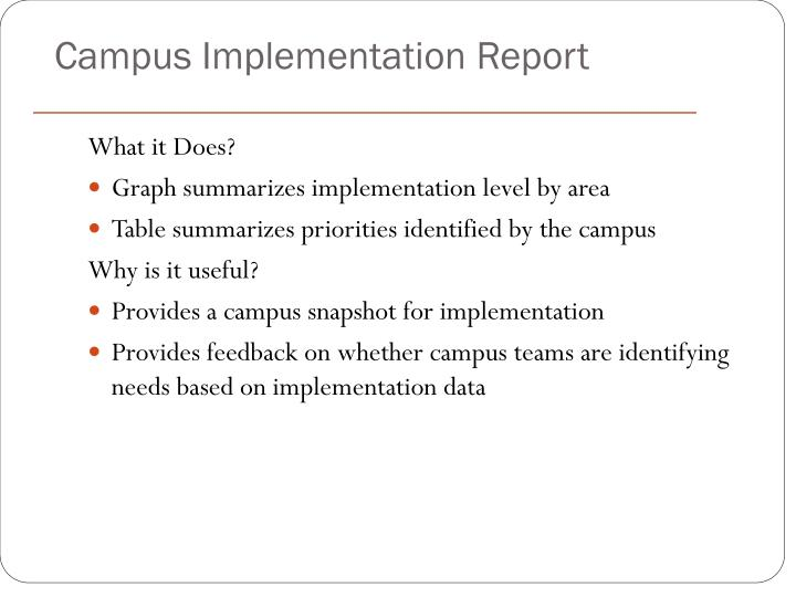 Campus Implementation Report