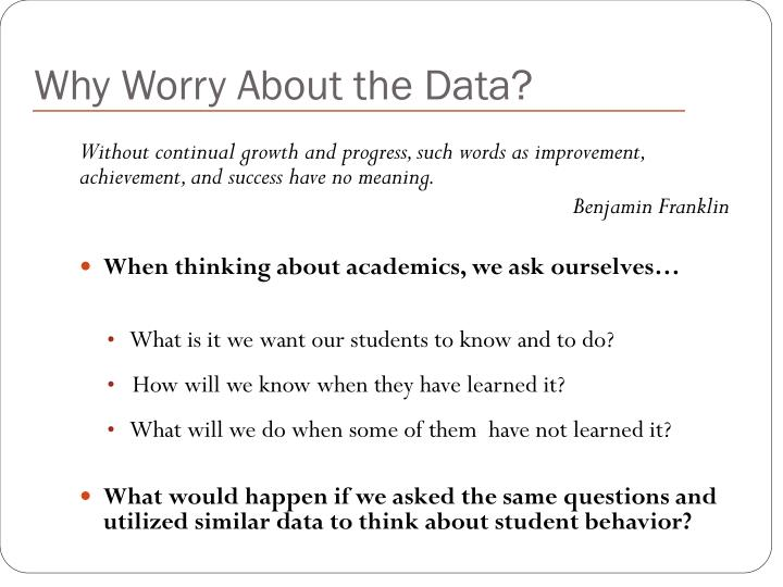 Why Worry About the Data?