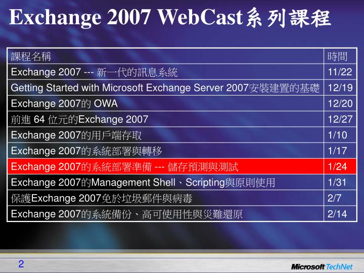 Exchange 2007 WebCast