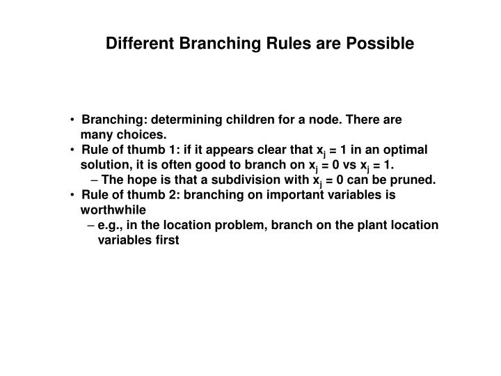 Different Branching Rules are Possible