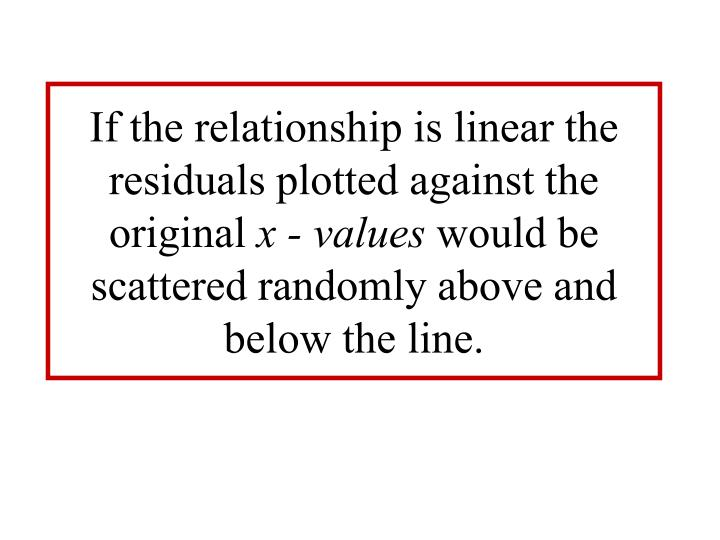 If the relationship is linear the residuals plotted against the original