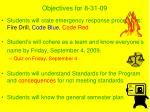 objectives for 8 31 09